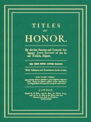 Cover of: Titles of honor
