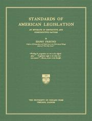 Cover of: Standards of American legislation: an estimate of restrictive and constructive factors
