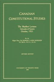 Cover of: Canadian Constitutional Studies | Sir Robert Laird Borden