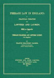 Cover of: Peerage Law in England | Francis Beaufort Palmer
