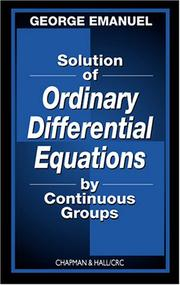 Cover of: Solution of Ordinary Differential Equations by Continuous Groups
