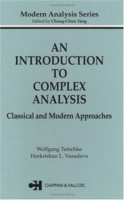 Cover of: An introduction to complex analysis