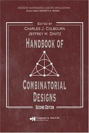 Cover of: Handbook of combinatorial designs by
