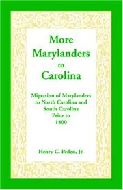 Cover of: More Marylanders to Carolina