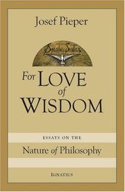 Cover of: For Love of Wisdom | Josef Pieper