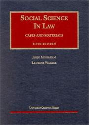 Social science in law by John Monahan