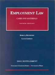 Cover of: Employment Law: Cases and Materials  | Mark A. Rothstein
