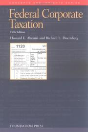 Cover of: Federal corporate taxation