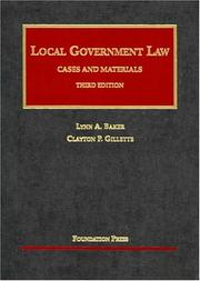 Cover of: Local government law | Lynn A. Baker