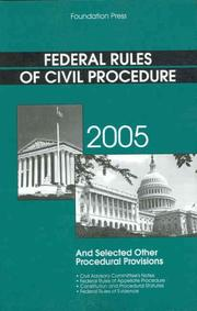 Cover of: Federal Rules of Civil Procedure, 2005