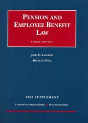 Cover of: Pension and Employee Benefit Law, 3rd Ed. | John H. Langbein