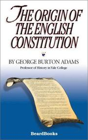 Cover of: The origin of the English constitution