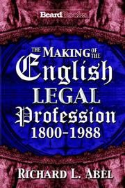 Cover of: The Making of the English Legal Profession