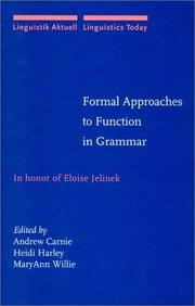 Cover of: Formal Approaches to Function in Grammar |