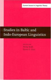 Cover of: Studies in Baltic and Indo-European linguistics