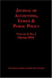 Cover of: Journal Of Accounting, Ethics & Public Policy, No. 2 | Robert McGee