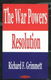 Cover of: War Powers Resolution |