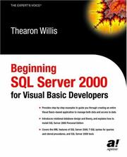 Cover of: Beginning SQL Server 2000 for Visual Basic Developers | Thearon Willis