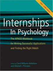 Cover of: Internship in Psychology 2007-2008 |
