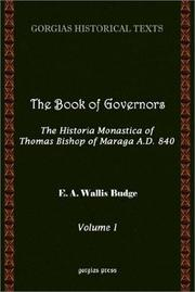 Cover of: The Book of Governors: The Historia Monastica of Thomas Bishop of Marga