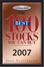 Cover of: The 100 Best Stocks You Can Buy, 2007