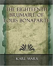 Cover of: The Eighteenth Brumaire of Louis Bonaparte - 1913