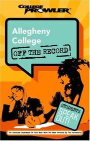 Cover of: Allegheny College: Off the Record | Carolyn Keller