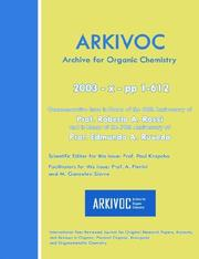 Cover of: Arkivoc 2003 (X) Commemorative for Prof. Roberto A. Rossi and Prof. Edmundo A. Ruveda | Paul Krapcho