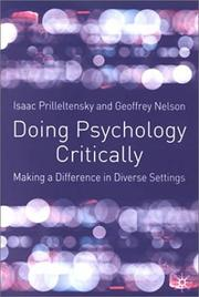 Cover of: Doing Psychology Critically | Isaac Prilleltensky