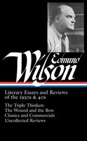 Cover of: Edmund Wilson: Literary Essays and Reviews of the 1930s & 40s