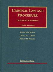 Cover of: Criminal Law and Procedure (University Casebook) | Ronald N. Boyce