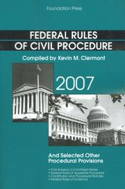 Cover of: Federal Rules of Civil Procedure and Selected Other Procedural Provisions