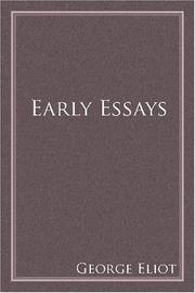 Cover of: Early essays