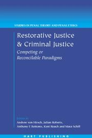 Cover of: Restorative justice and criminal justice |