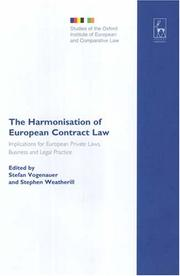 Cover of: The harmonisation of European contract law