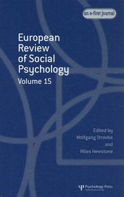 Cover of: The European Review of Social Psychology | W. Stroebe