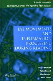 Cover of: Eye Movements and Information Processing during Reading | Ralph Radach