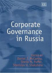 Cover of: Corporate governance in Russia | McCarthy, Daniel J.