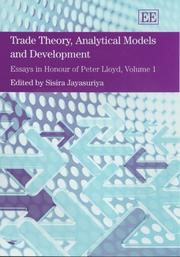 Cover of: Trade Theory, Analytical Models And Development |