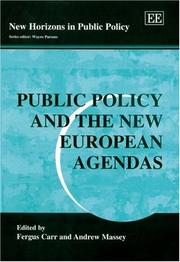 Cover of: Public policy and the new European agendas