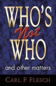 Cover of: Who's Not Who and Other Matters