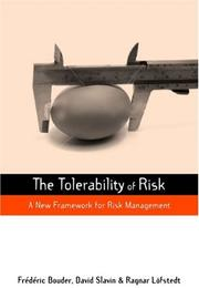 Cover of: The Tolerability of Risk |