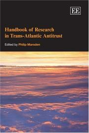 Cover of: Handbook of Research in Trans-Atlantic Antitrust (Elgar Original Reference) | Philip Marsden