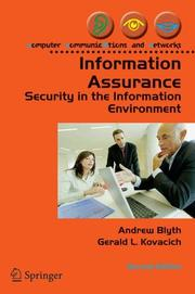 Information Assurance by Andrew Blyth, Gerald L. Kovacich