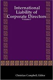 Cover of: International Liability of Corporate Directors - Volume I