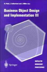 Cover of: Business object design and implementation III