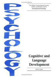 Cover of: Cognitive and Language Development (Open Learning Units: Developmental Psychology)