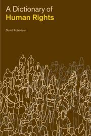 Cover of: A Dictionary of Human Rights | David Robertson