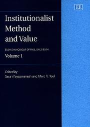 Cover of: Institutionalist Method and Value