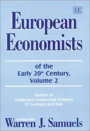 Cover of: European Economists of the Early 20th Century